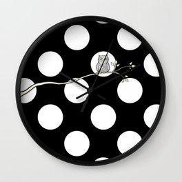 Out on a Limb - Polka Dot Owl Moon Wall Clock