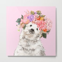 Baby Polar Bear with Flowers Crown Metal Print