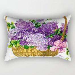 Vintage Lilacs Antique Basket Rectangular Pillow
