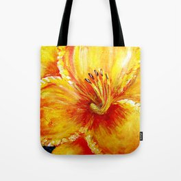 Frilly Yellow and YellowOrange Daylily Tote Bag