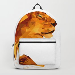 Geometric Lion Wild animals Big cat Low poly art Brown and Yellow Backpack