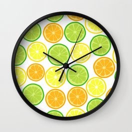 Citrus Slices on White Wall Clock