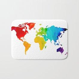 Original Watercolor - Map of The World - Travel Art - Chakra Rainbow Colors Bath Mat