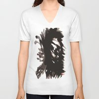 blur V-neck T-shirts featuring Skull Blur  by Myles Hunt