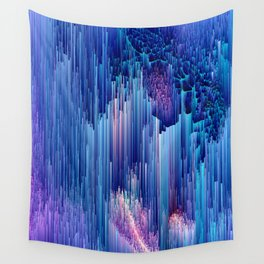 Beglitched Waterfall - Abstract Pixel Art Wall Tapestry