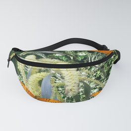 butterflies and wattle with green abstract bouquet Fanny Pack