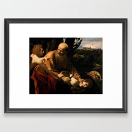 Sacrifice of Isaac  circa 1603 by Caravaggio (Milan 1571 - Porto 1610) Framed Art Print