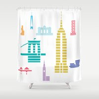 new york skyline Shower Curtains featuring New York Skyline White by Christopher Dina