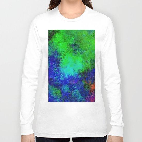 Awaken - Blue, green, abstract, textured painting Long Sleeve T-shirt