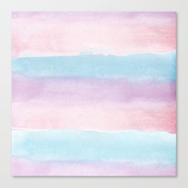 Modern blush pink teal color block watercolor brushstrokes stripes Canvas Print