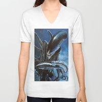 alien V-neck T-shirts featuring Alien by Tom C Carlton