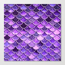 Pantone Ultra Violet Glitter Ombre Mermaid Scales Pattern Canvas Print