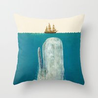 moby Throw Pillows featuring The Whale - colour option by Terry Fan
