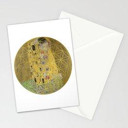 The Kiss - Gustav Klimt - Golden Flower Of Life Stationery Cards