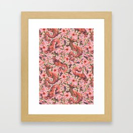 Living Coral Japanese Dragon Framed Art Print