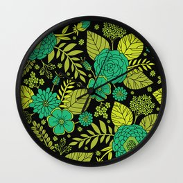 Lime, Jade, Emerald, And Forest Green Floral Pattern Wall Clock