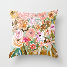 SMELLS LIKE SELF BELIEF Floral Throw Pillow