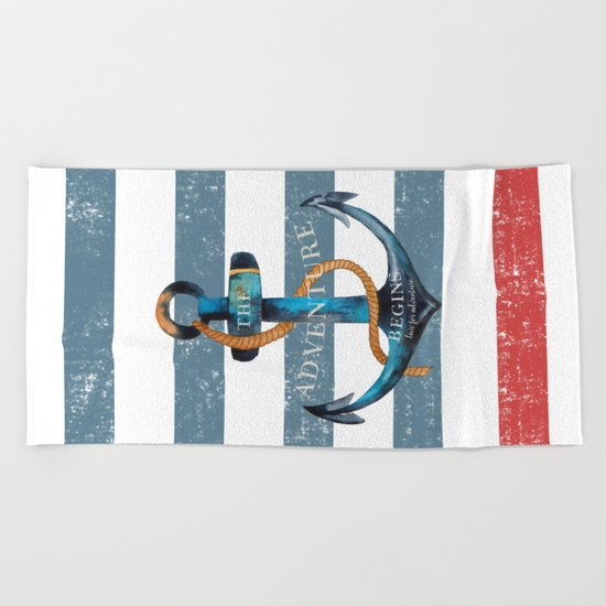 Maritime Design- Nautic Anchor on stripes in blue and red #Society6 Beach Towel