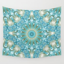 Turquoise and Gold Mandala Tile Wall Tapestry