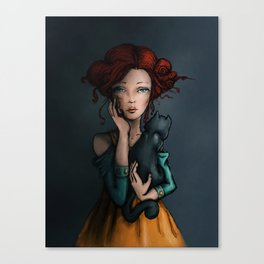 The black cat and his lady Canvas Print