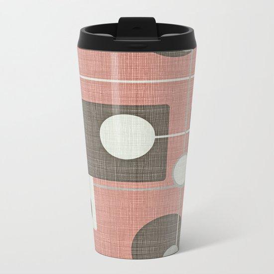 Orbs & Squares Pink Metal Travel Mug