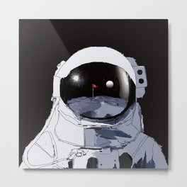 Astronaut Golf Course on the Moon Metal Print