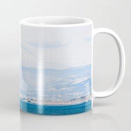 Lake and Mountain Cap // Grainy Foggy Blue Landscape Photography in Beautiful Oregon Coffee Mug
