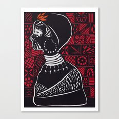 Tribal woman with traditional patterns Canvas Print