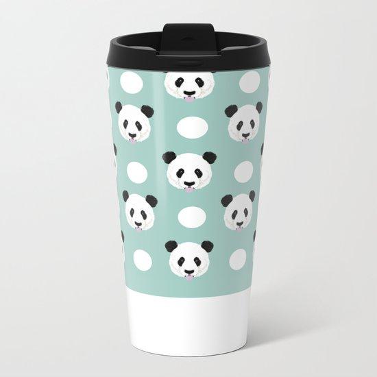 Panda polka dots pattern print minimal trendy kids design pillow cell phone cute panda cub character Metal Travel Mug