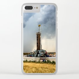 Nevermind the Weather - Oil Rig and Passing Storm in Oklahoma Clear iPhone Case
