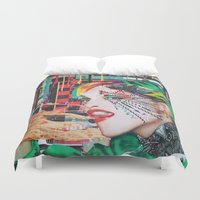 peter pan Duvet Covers featuring Pan by Katy Hirschfeld
