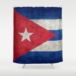 Cuban national flag- vintage retro version Shower Curtain