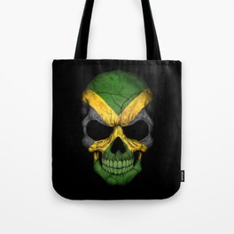 Dark Skull with Flag of Jamaica Tote Bag
