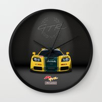 f1 Wall Clocks featuring 1995 McLaren F1 GTR Le Mans - Harrods Livery by vsixdesign