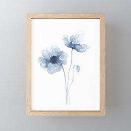 Blue Watercolor Poppies Framed Mini Art Print