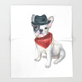 Frenchie French Bulldog Gangster Hat Bandana Red Dogs In Clothes Throw Blanket