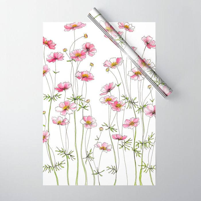 Pink Cosmos Flowers Wrapping Paper