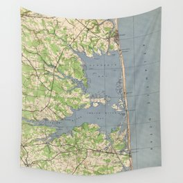 Vintage Rehoboth & Bethany Beach DE Map (1944) Wall Tapestry