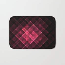 Red geometric fractal with many squares. Bath Mat