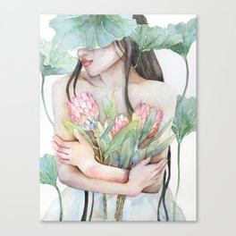 Lena Holding Proteas and Surrounded by Lotus Leaves Canvas Print