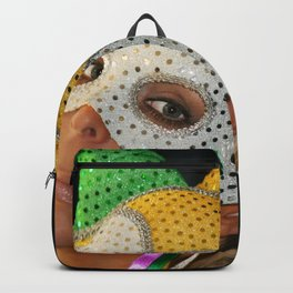 Blond Woman with Mask Backpack