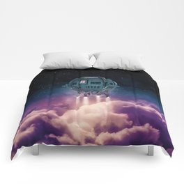 Out of the atmosphere / 3D render of spaceship rising above clouds Comforters