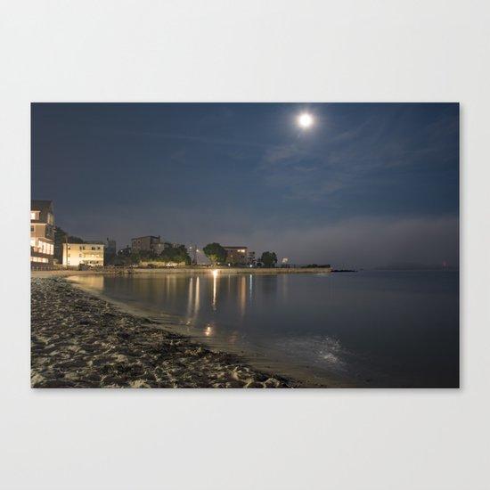 Foggy Moonlit Beach Canvas Print