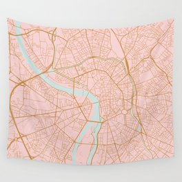 Pink and gold Toulouse map, France Wall Tapestry