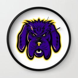 Newfoundland Dog Mascot Angry Wall Clock