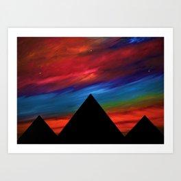 Fire Sky - Pyramids Silhouette Art Print