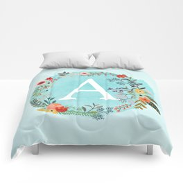 Personalized Monogram Initial Letter A Blue Watercolor Flower Wreath Artwork Comforters
