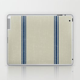 Blue Stripes on Linen color background French Grainsack Distressed Country Farmhouse Laptop & iPad Skin