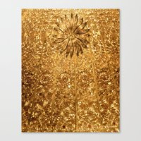 gold glitter Canvas Prints featuring Glitter Gold by Saundra Myles