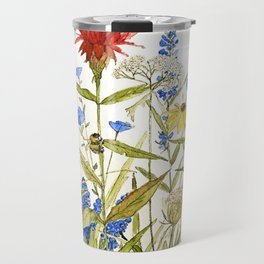 Garden Flower Bees Contemporary Illustration Painting Travel Mug